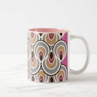 Groovy Art Deco / Retro Design Pink & Grey Mugs