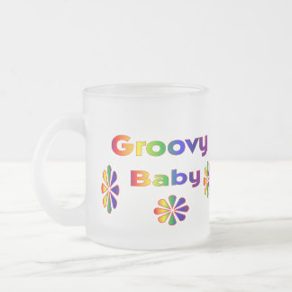 groovy baby 10 oz frosted glass coffee mug
