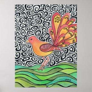 Groovy Bird Original Art Poster