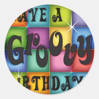 Groovy Birthday Round Sticker