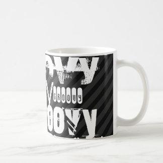 Groovy; Black & Dark Gray Stripes Classic White Coffee Mug