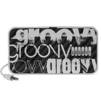 Groovy; Black & Dark Gray Stripes Travel Speaker