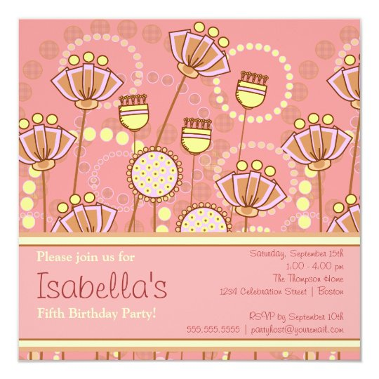 Groovy Blooms Girls Birthday Party Invitation
