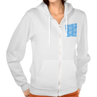 Groovy Blue Flowers Design Hooded Pullovers