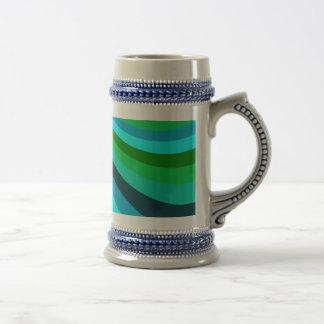 Groovy Blue Green Rainbow Slide Stripes Pattern Mug