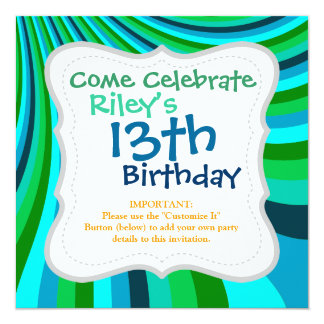 Groovy Blue Green Rainbow Slide Stripes Retro 13 Cm X 13 Cm Square Invitation Card