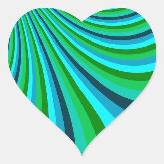Groovy Blue Green Rainbow Slide Stripes Retro Heart Sticker