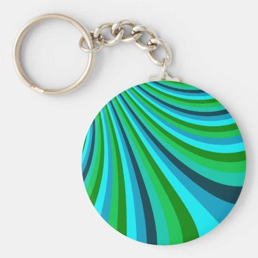 Groovy Blue Green Rainbow Slide Stripes Retro Key Chain