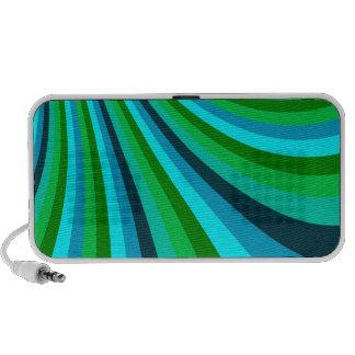 Groovy Blue Green Rainbow Slide Stripes Retro Portable Speakers