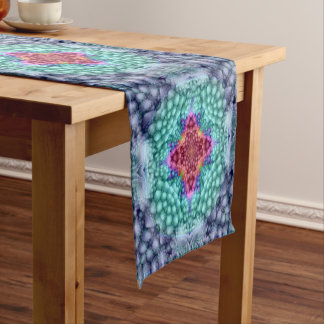 Groovy  Blue  Kaleidoscope  Colorful Table Runner