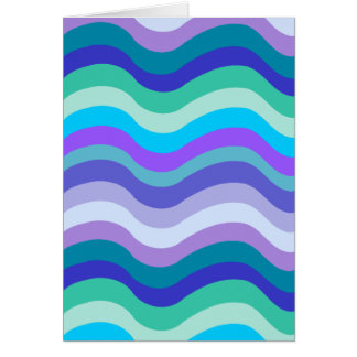 Groovy blue, purple and teal wavy lines pattern card