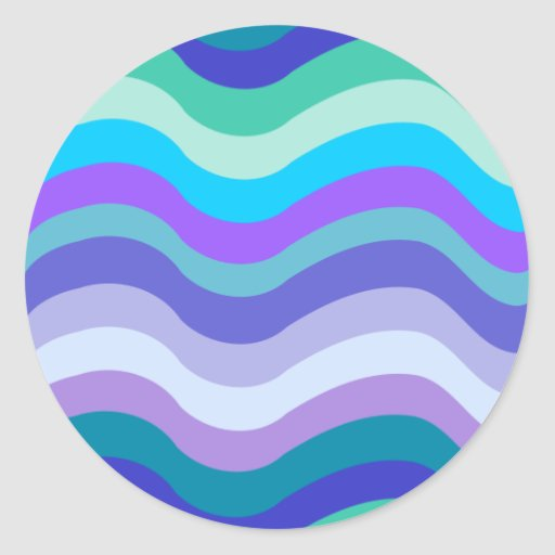 Groovy blue, purple and teal wavy lines pattern stickers