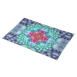 Groovy Blue Vintage Kaleidoscope Cloth Placemats