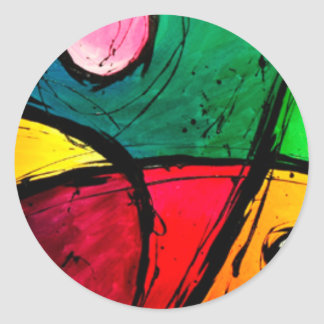 Groovy Bright Abstract Acrylic Art Classic Round Sticker