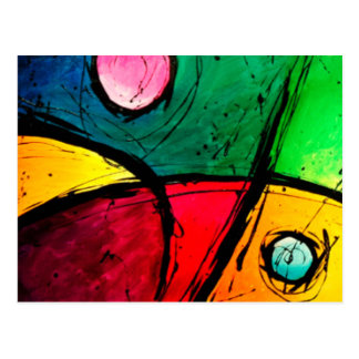 Groovy Bright Abstract Acrylic Art Postcard