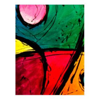 Groovy Bright Abstract Acrylic Art Postcard
