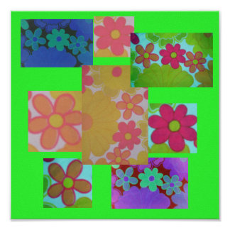 Groovy Bright Retro Flower's Poster
