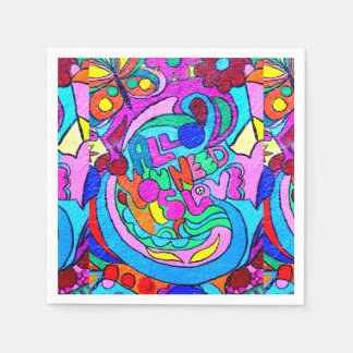 groovy colorful peace and love paper napkin