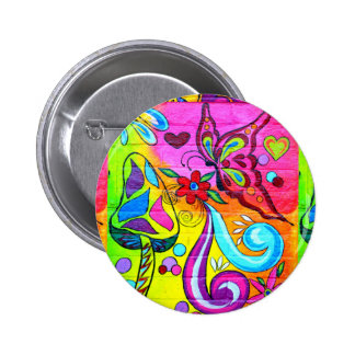 groovy colors hippie-style button