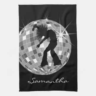 Groovy Dancer Silhouette On DiscoBall Kitchen Towels