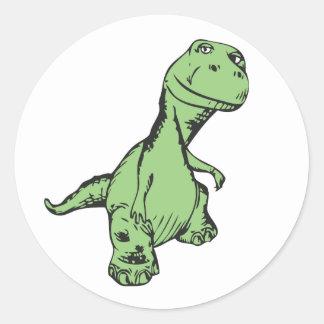 Groovy dinosaur classic round sticker