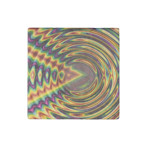 Groovy Far Out Fractal Stone Magnet
