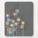 Groovy Flower Garden Whimsical Colourful Floral Mouse Pad