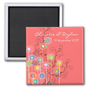Groovy Flowers Garden Whimsical Save The Date Magnet