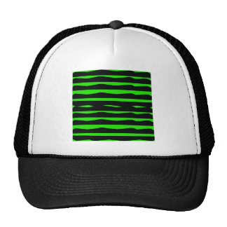 Groovy Green and Black Stripes Trucker Hats