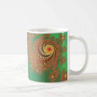Groovy Green & Gold Fractal Art Basic White Mug