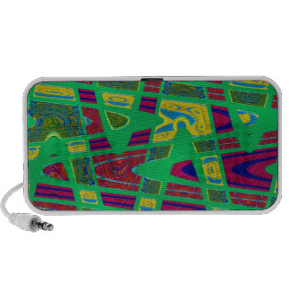 groovy green red abstract art laptop speakers