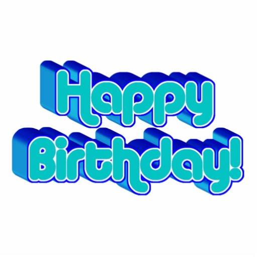 Groovy Happy Birthday Retro Blue Text Image Photo Sculpture