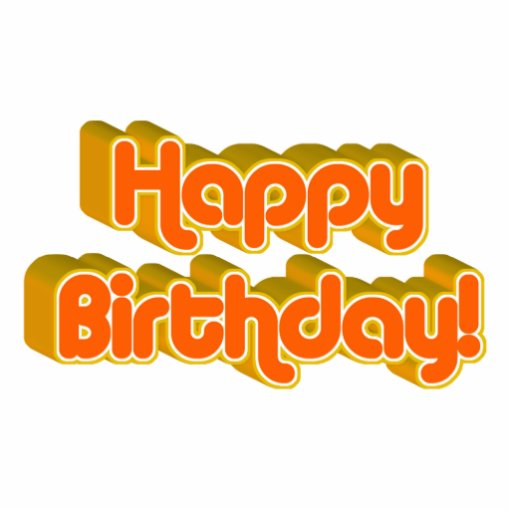 Groovy Happy Birthday Retro Orangey Text Image Photo Cut Outs