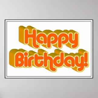 Groovy Happy Birthday Retro Orangey Text Image Poster