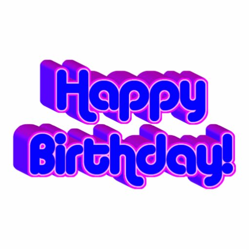 Groovy Happy Birthday Retro Purple Text Image Acrylic Cut Out