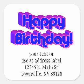 Groovy Happy Birthday Retro Purple Text Image Stickers