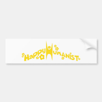 Groovy Happy Humanist Gold Bumper Sticker