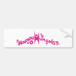 Groovy Happy Humanist Pink Bumper Sticker