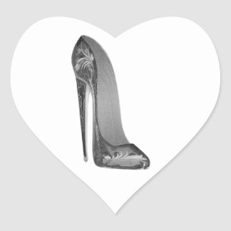 Groovy High Heel Stiletto Shoe Art Heart Sticker
