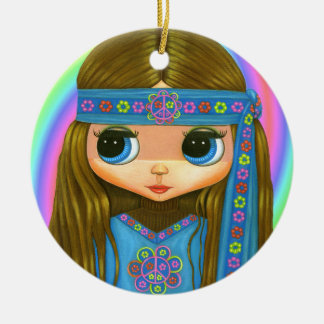 Groovy Hippie Chick in blue Peace Sign Cute Christmas Ornament