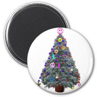 Groovy Hippie Christmas Tree Magnet