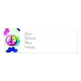 Groovy Hippie Peace Signs Flower Power Aqua Pack Of Skinny Business Cards