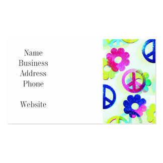 Groovy Hippie Peace Signs Flower Power Aqua Pack Of Standard Business Cards