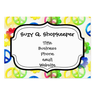 Groovy Hippie Peace Signs Flower Power Sparkle Pack Of Chubby Business Cards