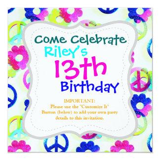 Groovy Hippie Peace Signs Flower Power Sparkle Pat 13 Cm X 13 Cm Square Invitation Card