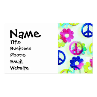 Groovy Hippie Peace Signs Flower Power Sparkle Pat Pack Of Standard Business Cards