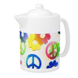 Groovy Hippie Peace Signs Flower Power Sparkles