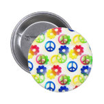 Groovy Hippie Peace Signs Flower Power Sparkles Pin