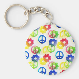 Groovy Hippie Peace Signs Flower Power Sparkles Basic Round Button Key Ring
