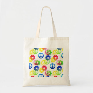 Groovy Hippie Peace Signs Flower Power Sparkles Budget Tote Bag